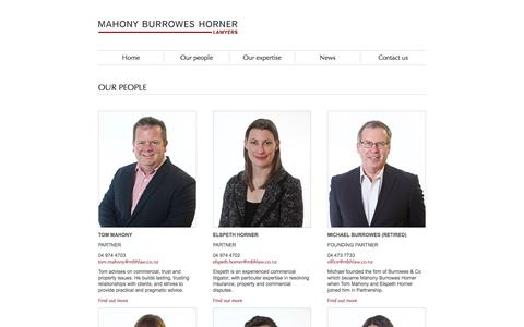 Screenshot of Team Page mbhlaw.co.nz - Our People at Mahony Burrowes Horner Lawyers, Wellington, NZ - captured Feb. 4, 2016