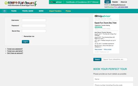 Screenshot of Login Page egyptfuntours.com - Login - captured Oct. 7, 2017