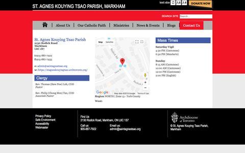 Screenshot of Contact Page archtoronto.org - St. Agnes Kouying Tsao Parish, Markham - captured Feb. 24, 2018