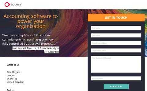 Screenshot of Landing Page theaccessgroup.com - Access financial management software | Contact Us - captured June 24, 2017