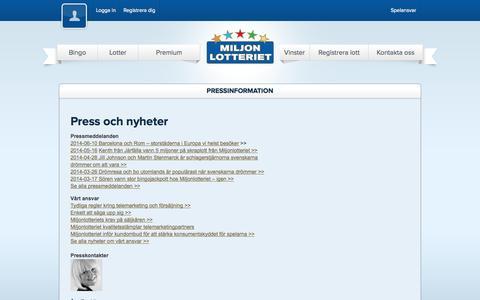 Screenshot of Press Page miljonlotteriet.se captured Oct. 27, 2014