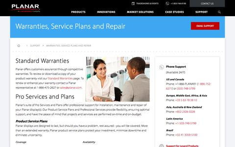 Screenshot of Services Page planar.com - Warranties, Service Plans and Repair | Planar - captured March 30, 2018
