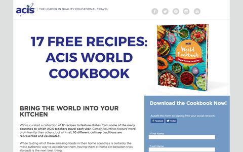 Screenshot of Landing Page acis.com - ACIS World Cookbook - captured March 13, 2017