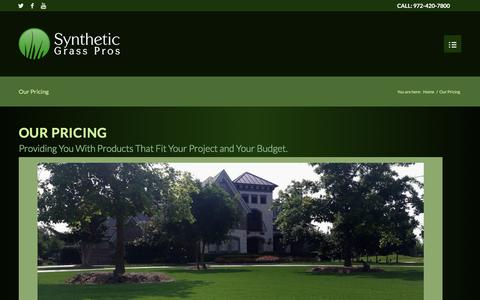Screenshot of Pricing Page syntheticgrasspros.com - Our Pricing   Synthetic Grass Pros - Dallas-Fort Worth, Texas - captured June 17, 2017