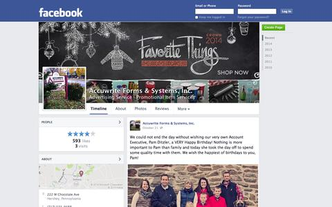 Screenshot of Facebook Page facebook.com - Accuwrite Forms & Systems, Inc. - Hershey, PA - Advertising Service, Promotional Item Services | Facebook - captured Oct. 23, 2014