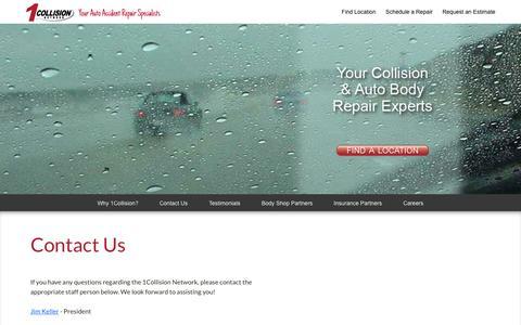 Screenshot of Contact Page 1collision.com - Auto Body Repair, Auto Collision Repair, Fort Dodge IA, Arlington Heights IL, Palos Heights IL, Altoona IA  | 1Collision.com - captured Feb. 13, 2016