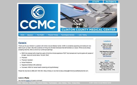 Screenshot of Jobs Page clintoncountymedicalcenter.com - Careers | CCMC - captured Sept. 30, 2014