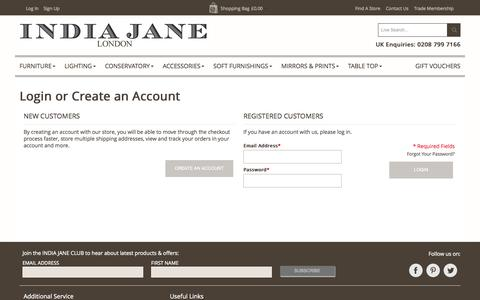 Screenshot of Login Page indiajane.co.uk - India Jane -  Customer Login - captured Sept. 30, 2014