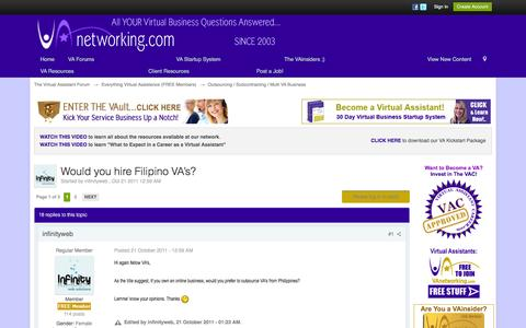 Screenshot of vanetworking.com - Would you hire Filipino VA's? - Outsourcing / Subcontracting / Multi VA Business - The Virtual Assistant Forum - captured Sept. 23, 2016