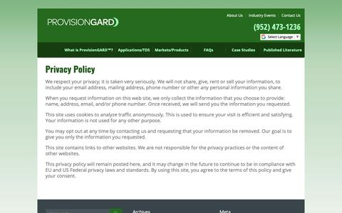 Screenshot of Privacy Page pvgard.com - ProvisionGard Privacy Policy - captured Sept. 30, 2018