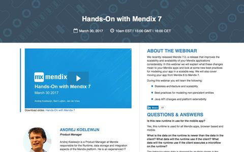 Screenshot of Landing Page mendix.com - Expert Webinar: Hands-On with Mendix 7 - captured April 7, 2017