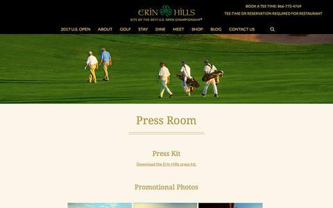 Screenshot of Press Page erinhills.com - Press Room - Erin Hills - captured Aug. 21, 2017