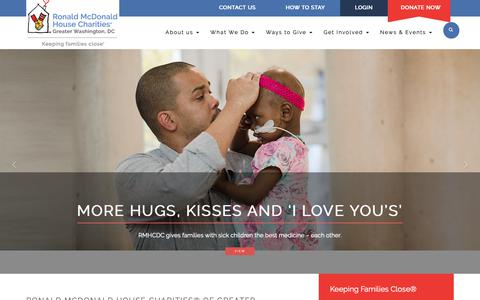 Screenshot of Home Page rmhcdc.org - Ronald McDonald House Charities® of Greater Washington, DC – Keeping Families Close® - captured Oct. 19, 2018