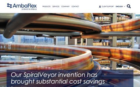 Screenshot of Home Page ambaflex.com - AmbaFlex - Leading Spiral Conveyor Solutions - captured Feb. 5, 2016