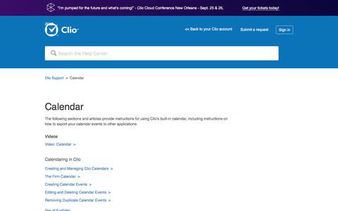 Screenshot of Support Page clio.com - Calendar – Clio Support - captured Sept. 21, 2017