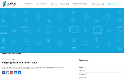Screenshot of Products Page sentral.com.au - Products Archives | Sentral Education - captured Oct. 18, 2018