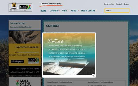 Screenshot of Contact Page golimpopo.com - Contact  | Limpopo Tourism Agency - captured June 24, 2018
