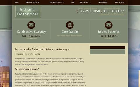 Screenshot of FAQ Page indianadefenders.com - FAQ's Regarding Indianapolis Criminal Defense - captured Oct. 7, 2014