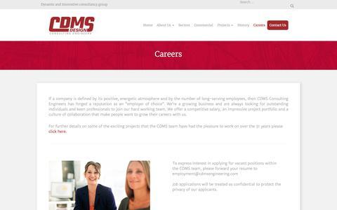 Screenshot of Jobs Page cdmsengineering.com - Careers - captured Sept. 25, 2018