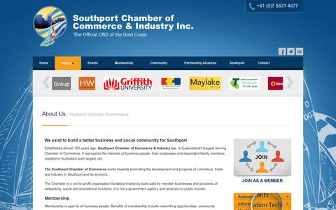 Screenshot of About Page southportchamberofcommerce.org.au - About The Southport Chamber of Commerce Gold Coast - captured Oct. 6, 2014