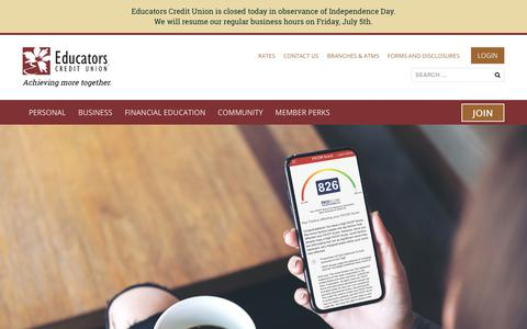 Screenshot of Home Page ecu.com - Educators Credit Union - captured July 4, 2019