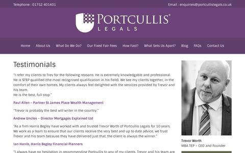 Screenshot of Testimonials Page portcullislegals.co.uk - Testimonials - Portcullis Legals - captured Nov. 8, 2016