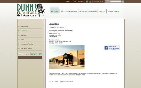 Screenshot of Locations Page dunnsfurnitureandinteriors.com captured Oct. 5, 2014