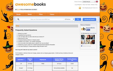 Screenshot of FAQ Page awesomebooks.com - Frequently Asked Questions - AwesomeBooks - captured Oct. 29, 2014