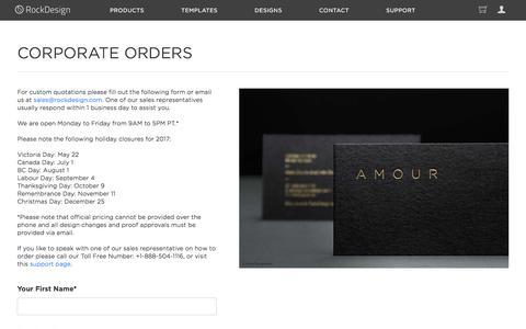 Screenshot of Contact Page rockdesign.com - Corporate Orders - captured June 24, 2017