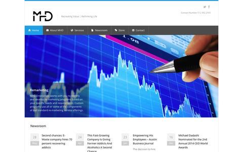Screenshot of Home Page mhdenterprises.com - MHD Enterprises | Recreating Value | Rethinking Life - captured July 21, 2016