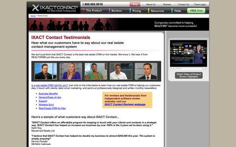 Screenshot of Testimonials Page ixactcontact.com - IXACT Contact Testimonials and Reviews | Real Estate CRM - captured Sept. 22, 2014