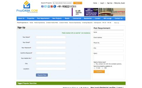 Screenshot of Signup Page propcasa.com - Registered by PropCASA Consultancy Pvt. Ltd in Noida, Noida Extention, Noida Expressway, Greater Noida, Delhi NCR, Yamuna Expressway in India - captured Sept. 19, 2014