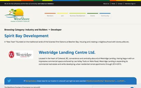 Screenshot of Developers Page westshore.bc.ca - Developer Archives - WestShore Chamber of Commerce - captured Oct. 26, 2014
