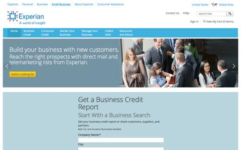 Screenshot of Services Page experian.com - Small Business Marketing Services and Business Credit Report Services from Experian - captured June 16, 2016
