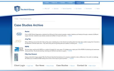 Screenshot of Case Studies Page arkhgroup.co.uk - Case Studies | The Ark-H Group - captured Nov. 21, 2016