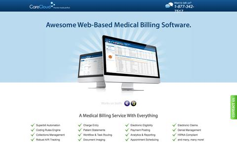 Screenshot of Landing Page carecloud.com - Medical Billing - Awesome Web-Based Medical Billing Software. | Care Cloud - captured May 24, 2016