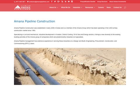 Screenshot of Home Page amanapipelines.com - Amana Pipeline Construction - Civil & Mechanical Industrial Construction - captured Nov. 20, 2016