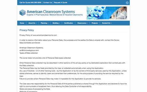 Screenshot of Privacy Page americancleanrooms.com - American Cleanroom Systems Privacy Policy - American Cleanroom Systems - captured Oct. 4, 2014