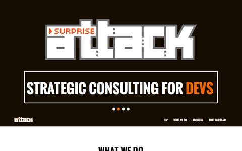 Screenshot of Home Page surpriseattack.com.au - Surprise Attack Consulting - Games Specialist Marketing and PR Agency - captured Oct. 7, 2014