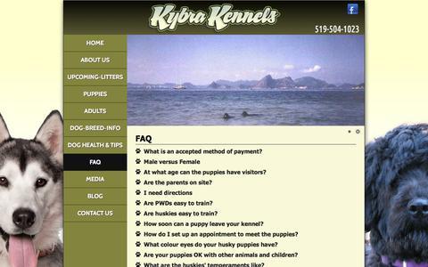 Screenshot of FAQ Page kybrakennels.ca - Kybra Kennels   FAQ - captured Sept. 20, 2018