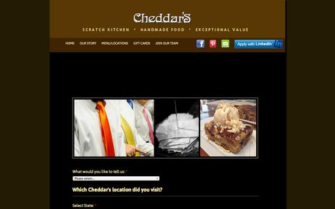 Screenshot of Contact Page cheddars.com - Contact | Cheddar's - captured Oct. 2, 2014