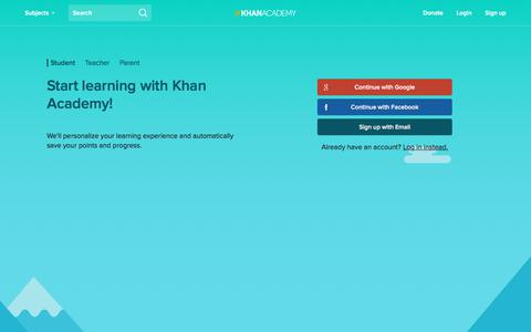 Screenshot of Signup Page khanacademy.org - Sign Up | Khan Academy - captured July 29, 2017
