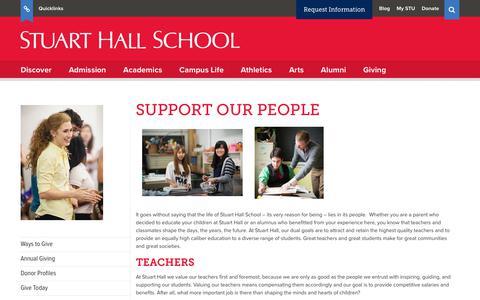 Screenshot of Team Page stuarthallschool.org - Support Our People   Stuart Hall School - captured Nov. 10, 2017