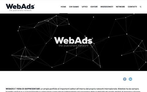 Screenshot of Home Page webads.it - homepage webads pubblicità digitale e rappresenta un ampio portfolio di Editori - captured Oct. 19, 2017