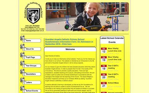 Screenshot of Home Page grdangel.bham.sch.uk - Guardian Angels Catholic Primary School - Home - captured Oct. 10, 2015