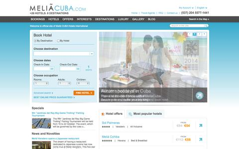 Screenshot of Home Page meliacuba.com - Cuba Hotels - Booking Cuba hotels - Meliá Cuba Hotels - captured Sept. 23, 2014
