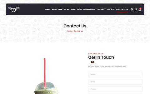 Screenshot of Contact Page javatimescaffe.com - JAVA TIMES CAFFE - captured Jan. 10, 2020