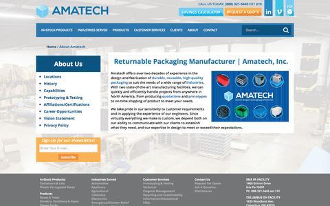 Screenshot of About Page amatechinc.com - About Us | Amatech - captured July 25, 2016