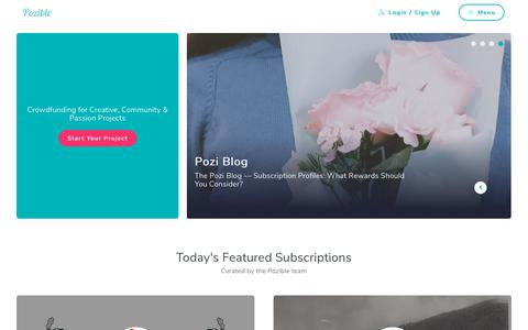 Screenshot of Home Page pozible.com - Pozible - Crowdfunding Artists & Communities in Australia - captured Jan. 22, 2019