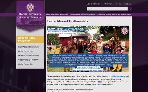 Screenshot of Testimonials Page habib.edu.pk - Learn Abroad Testimonials - Habib University - captured Jan. 24, 2016